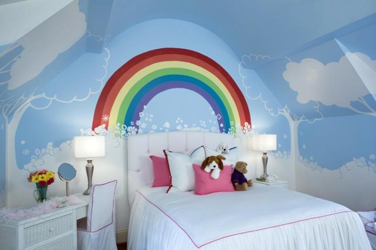 decoracion dormitorios infantiles arcoiris pared ideas