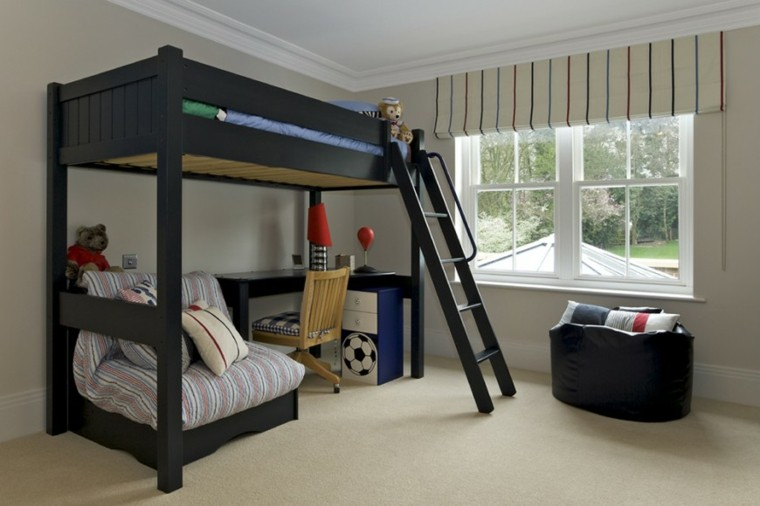 decoracion dormitorios infantiles cama negra ideas