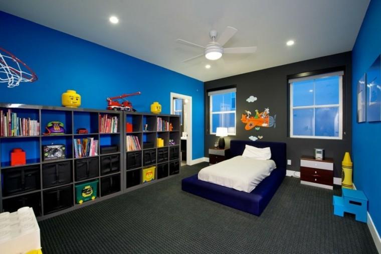 decoracion dormitorios infantiles chico negro azul ideas