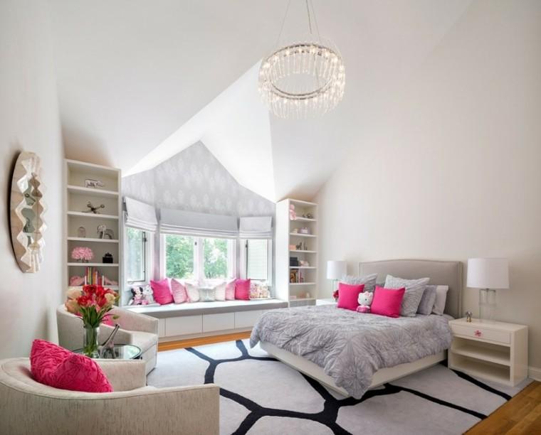 decoracion dormitorios infantiles cojines rosa ideas