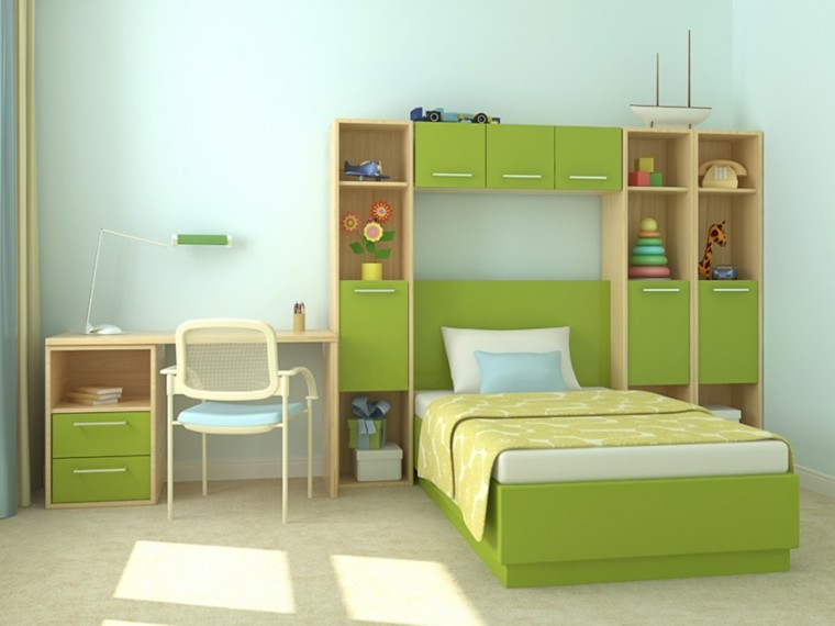 decoracion dormitorio infantiles color verde llamativo ideas