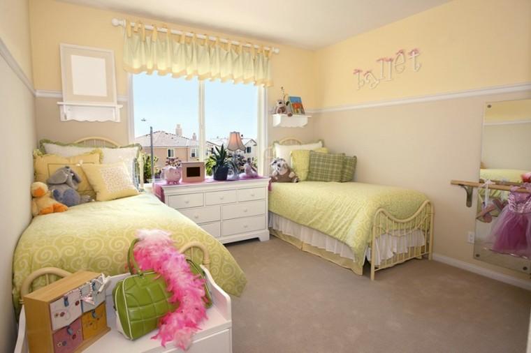 decoracion dormitorio infantiles dos camas amarillo ideas