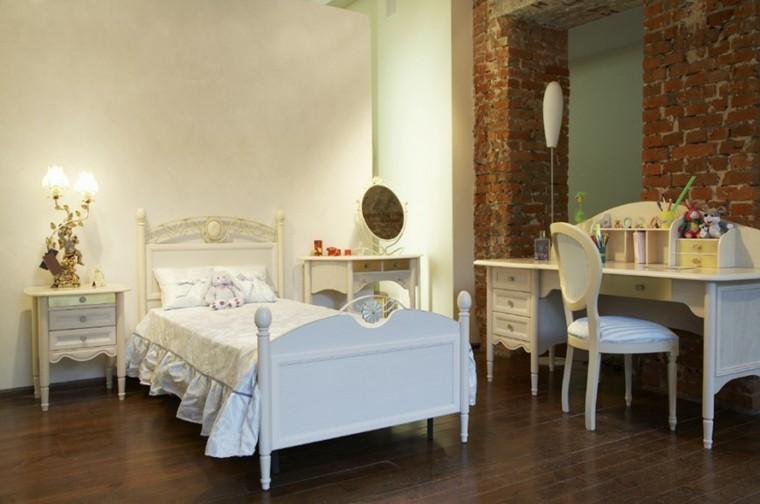 decoracion dormitorio infantiles escrtiorio cama blancos ideas