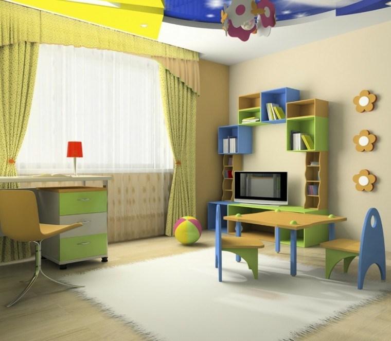 decoracion dormitorio infantiles estanterias colores ideas