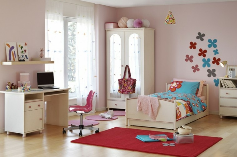 decoracion dormitorio infantiles flores pared ideas