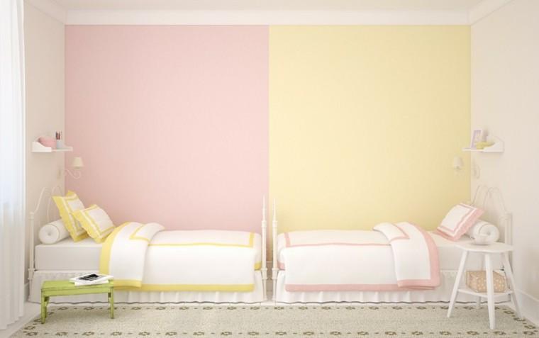 decoracion dormitorio infantiles pared rosa amarillo ideas
