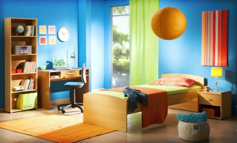 decoracion dormitorio infantiles paredes azules ideas