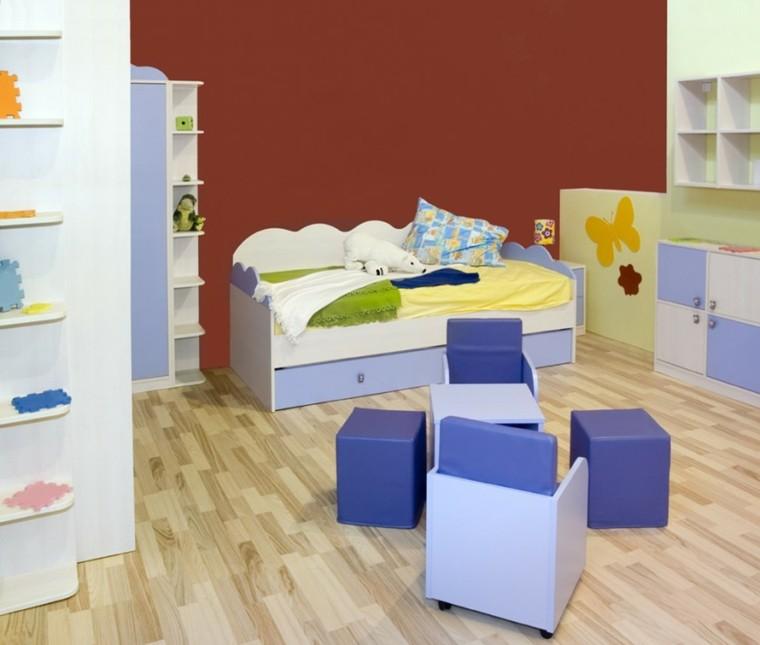 decoracion dormitorio infantiles taburetes azules ideas