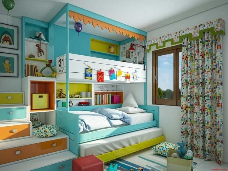 decoracion dormitorios infantiles cortinas cojines