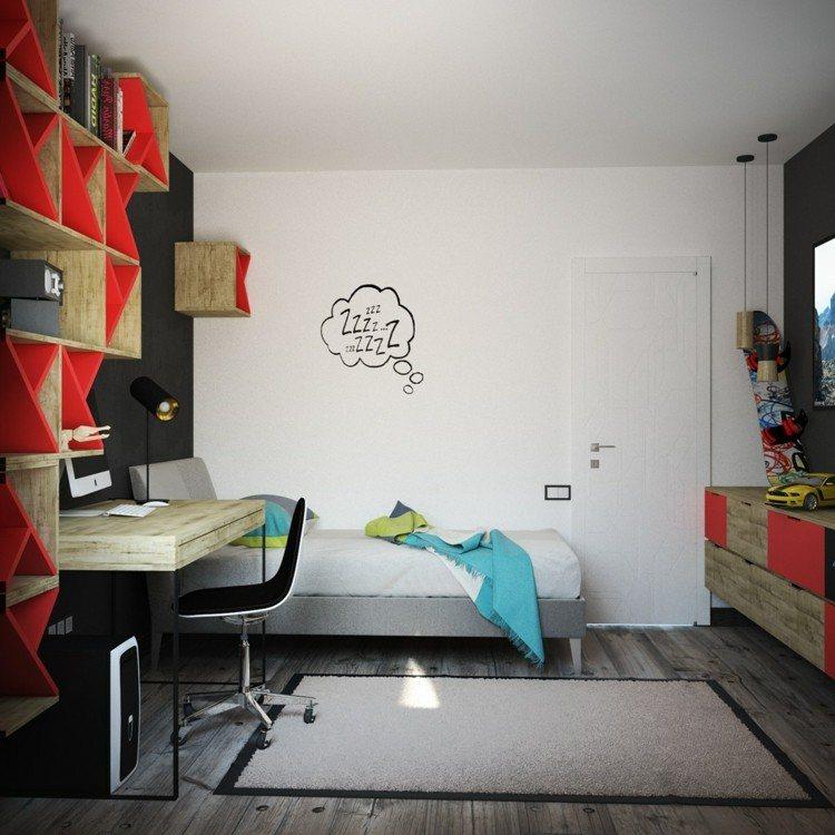 decoracion dormitorios infantiles rojo cristales maderas
