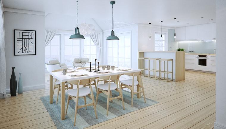 decoracion de interiores comedor alfombra azul ideas