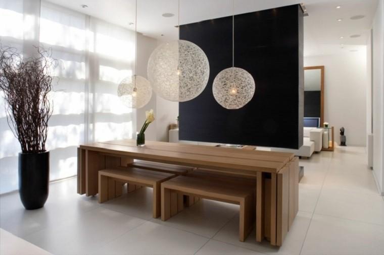 decoracion de interiores comedor bancos madera ideas