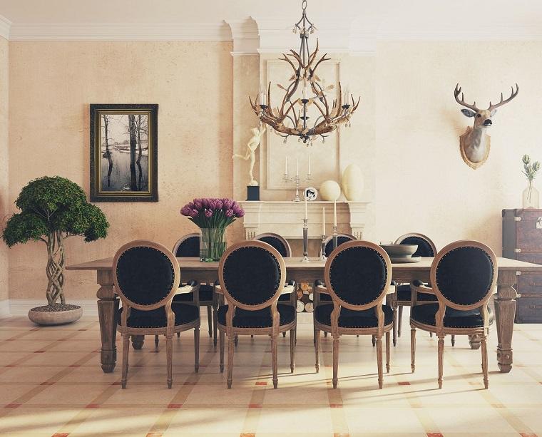 decoracion de interiores comedor cuernos ideas