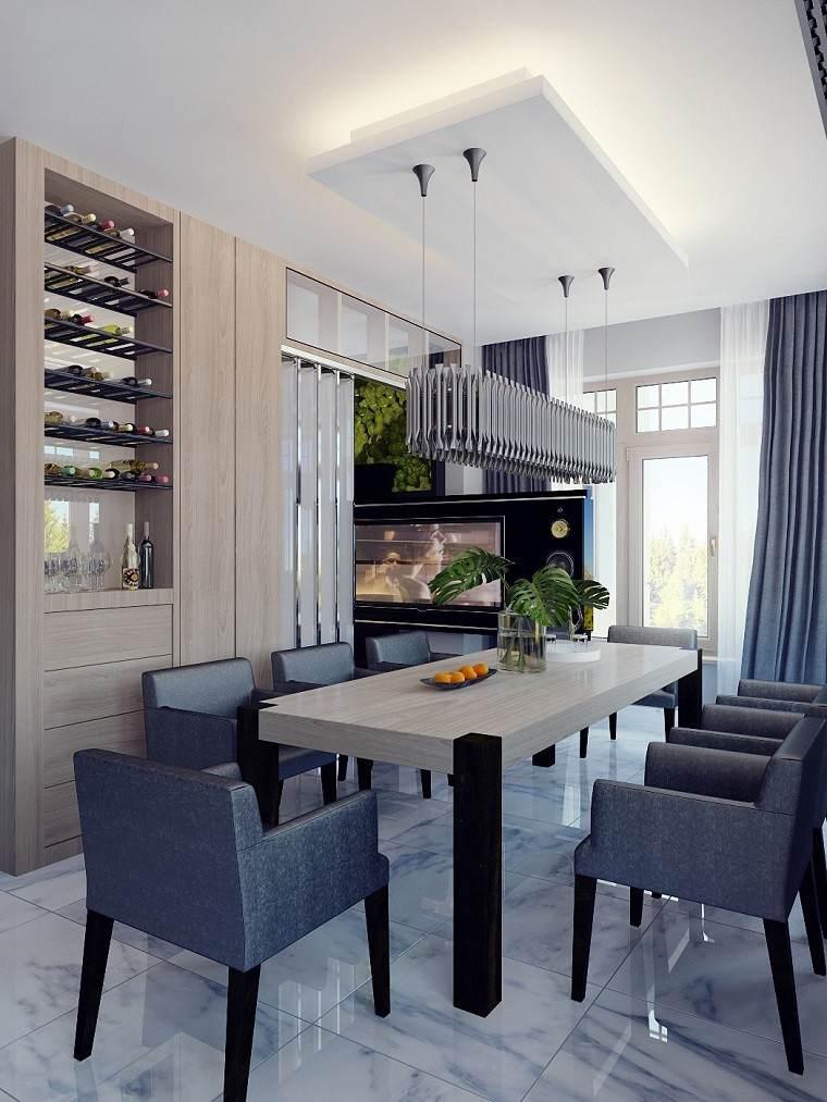 decoracion de interiores comedor estantes vinos ideas - Decoracion Interiores