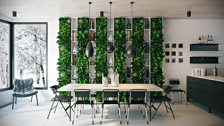 decoracion interiores comedor jardin vertical ideas