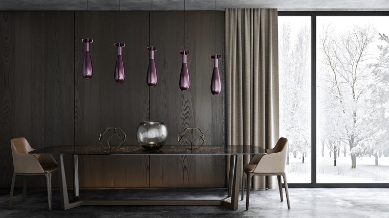 decoracion de interiores comedor lamparas purpura ideas