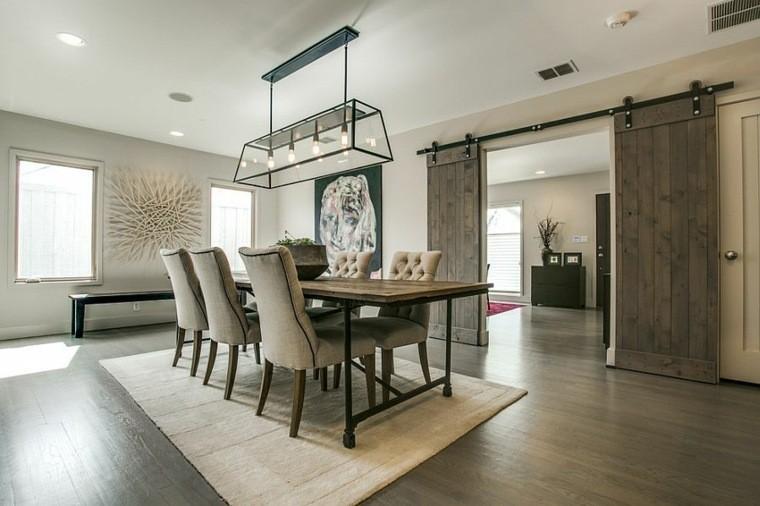 decoración interiores comedor mesa madera ideas