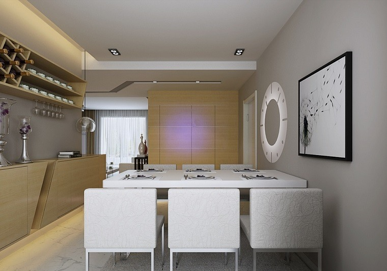 decoración interiores comedor mesa sillas blancas ideas