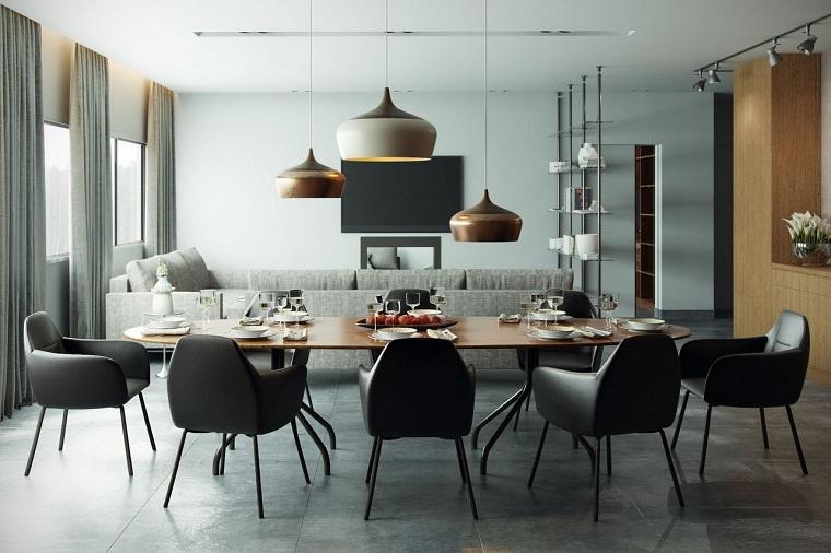 decoracion de interiores comedor sillas comodas negras ideas