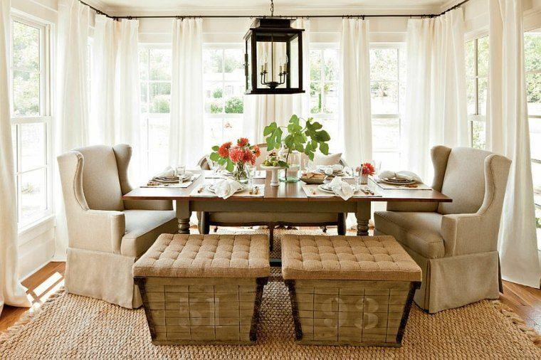 decoracion de interiores comedor taburetes madera ideas