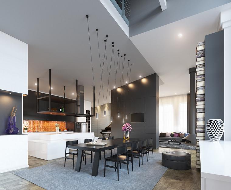 decoracion de interiores comedor techo alto ideas