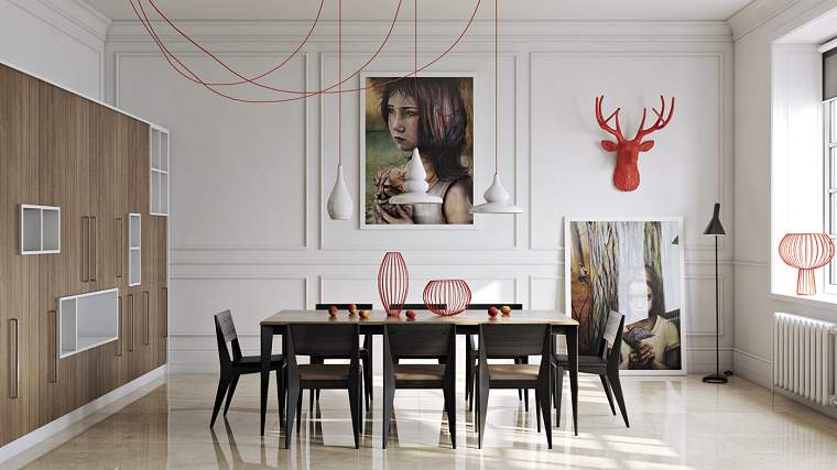 decoracion de interiores comedor toques rojo ideas