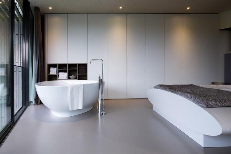 ideas moderna dormitorio banera blanca cama