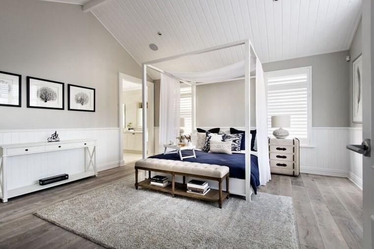 ideas modernas dormitorio cama dosel banco cuadros pared