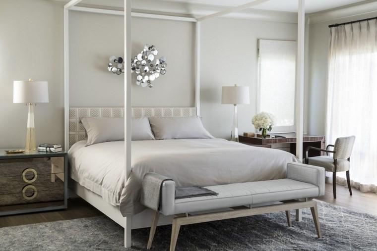 ideas moderna dormitorio cama dosel blanca