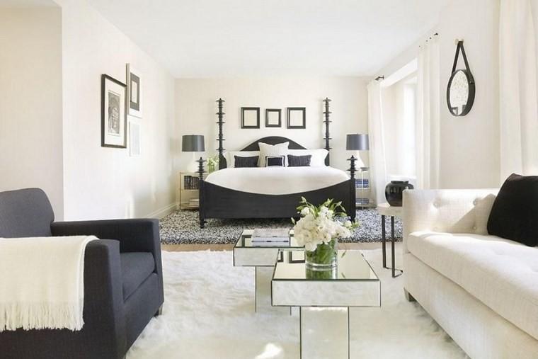 ideas modernas dormitorio cama madera negra ideas