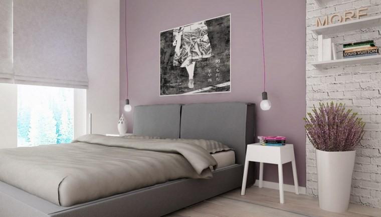 ideas modernas dormitorio maceta flores cama gris