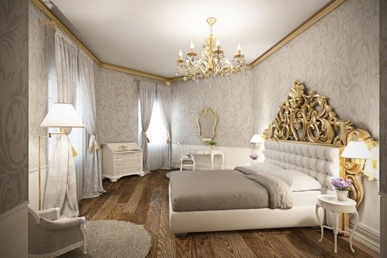 decoracion moderna dormitorio respado cama oro ideas