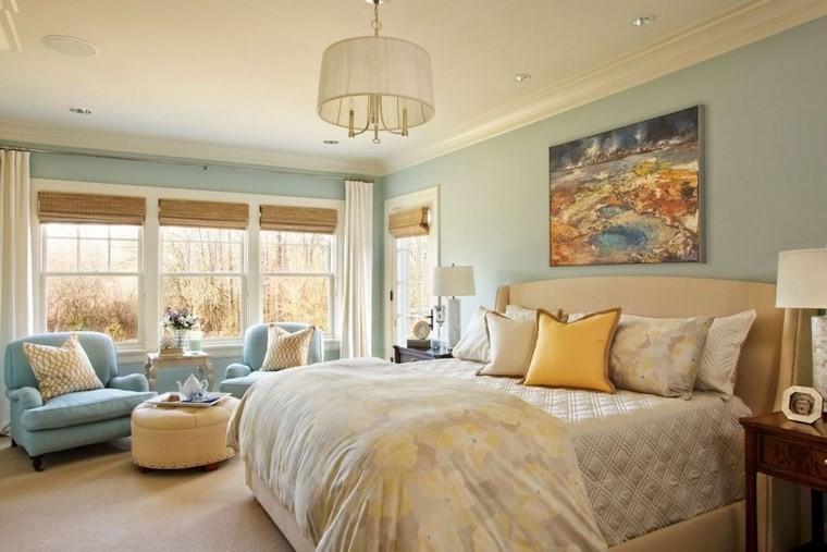 decoracion moderna dormitorio sillones azules cuadro pared ideas