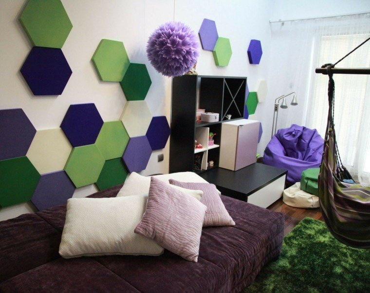 decoracion pared preciosa colore vibrantes ideas