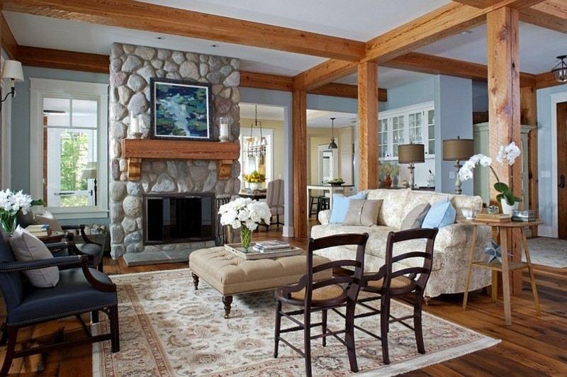 decoracion rustica salon columnas madera ideas