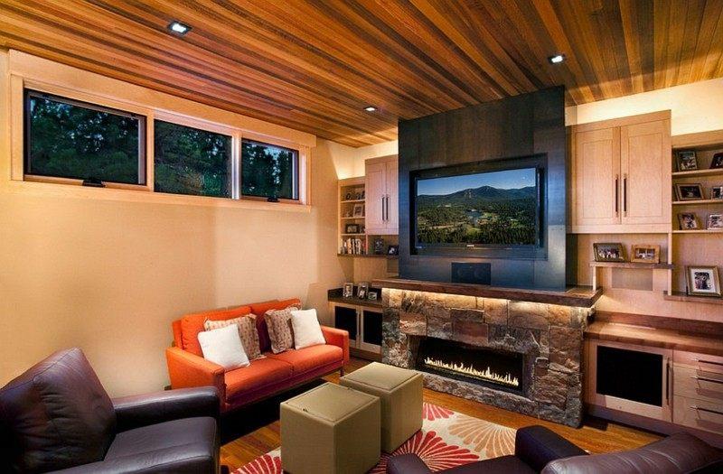 decoracion rústica salon pequeno sofa naranja ideas