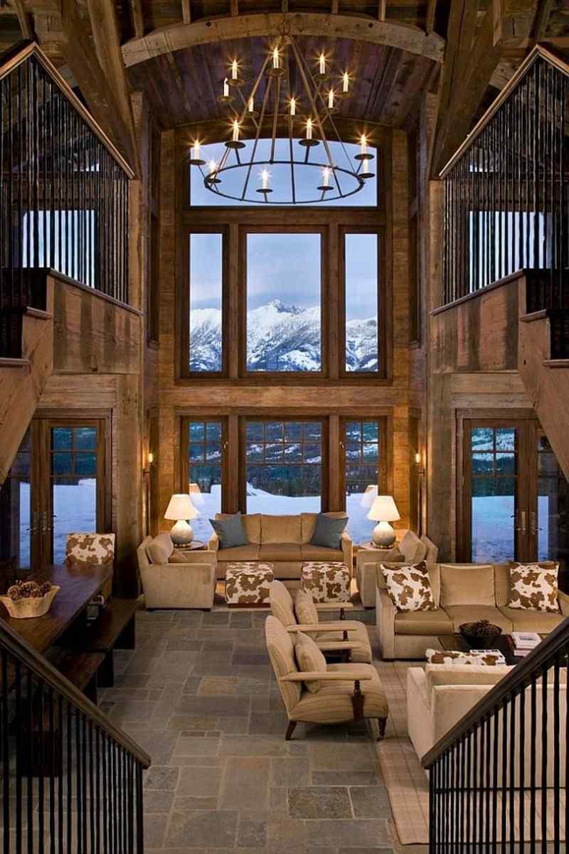 decoracion rústica salon ventana grande ideas