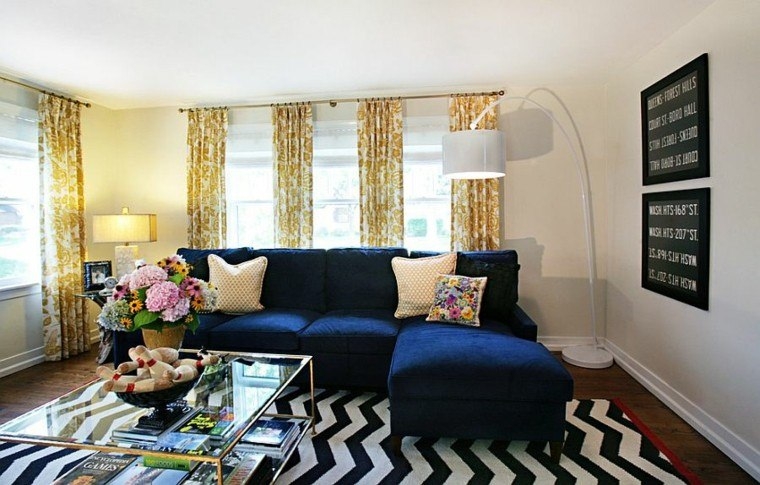 decoracion salon alfombra rayas azul ideas