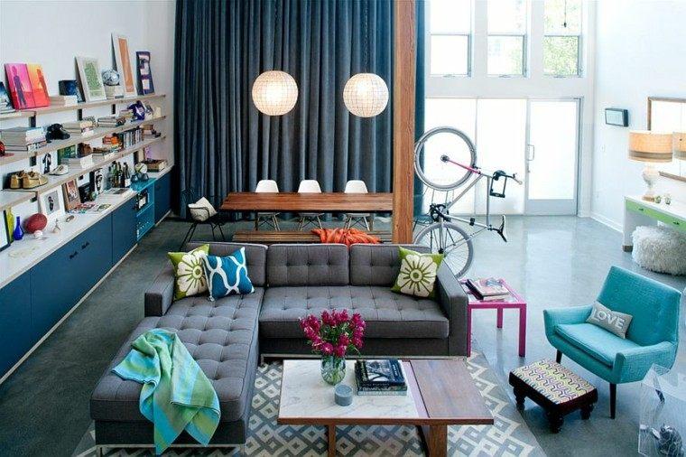 decoracion salon estanterias abiertas loft ideas