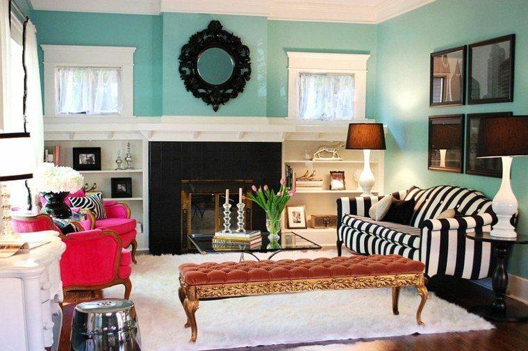 decoracion salon pared azul claro ideas