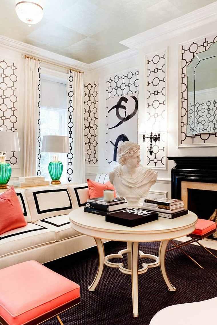 decoracion salon pared blanco negro ideas