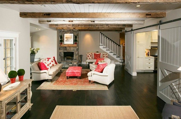 decoracion salon sofa blanca cojines rojos ideas