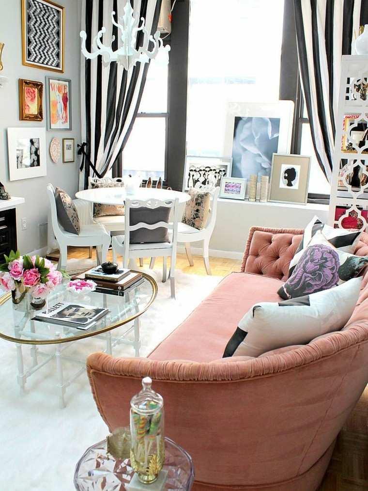 decoracion salon sofa rosa vintage ideas