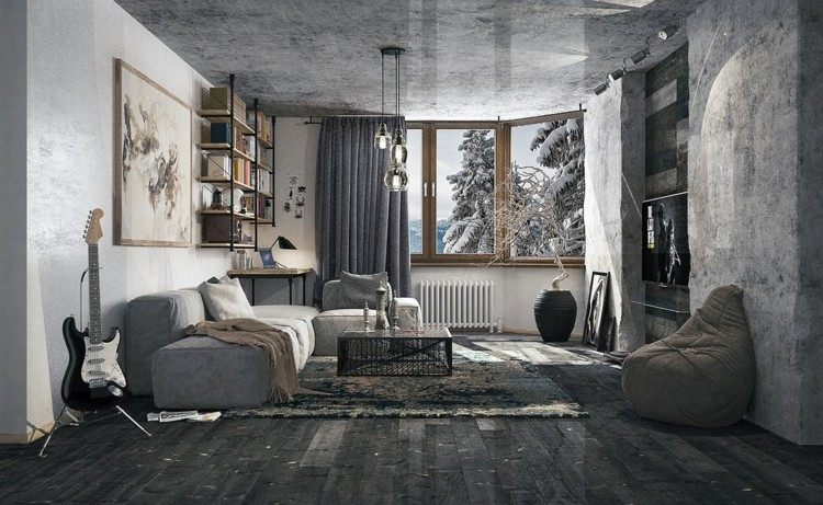decoracion salones estilo lamparas alfombras guitarra