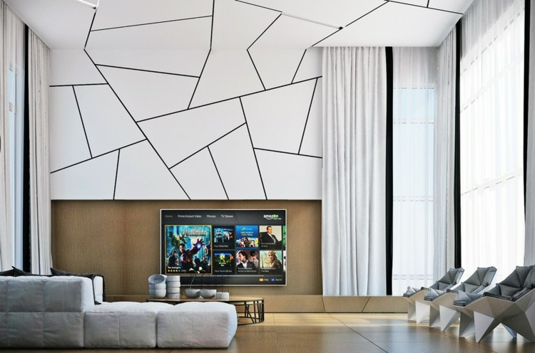 decoracion salones estilo lamparas futurista cuadros