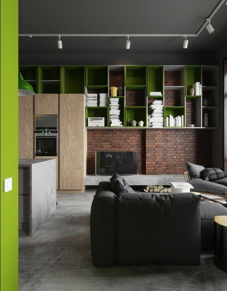 decoracion salones estilo verdes suelo madera