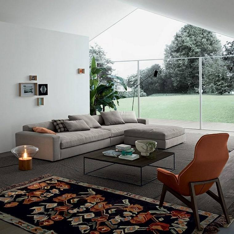decoracion salones modernos sillon naranja ideas