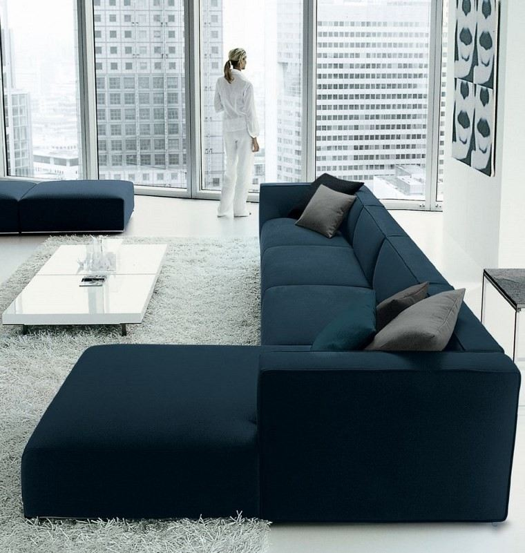 decoracion salones modernos sofa verde oscura ideas