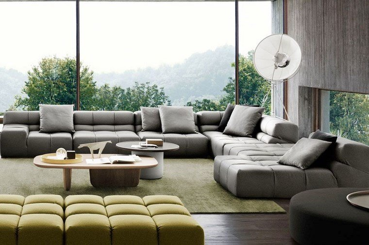 decoracion salones modernos verde gris ideas