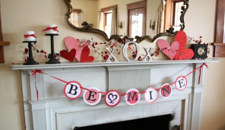 decoración san valentin chimenea